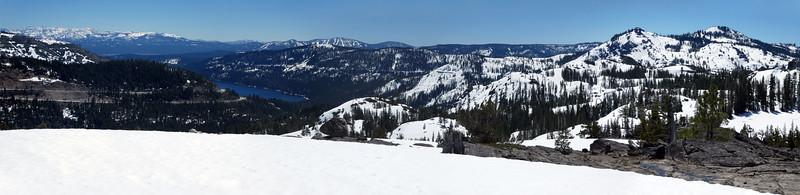 Panorama from the ridge top. Donner Lake, Donner Peak, Mount Judah.