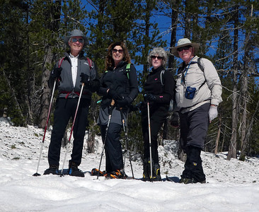 Our group for today. From left: Rich, Linda, Barbara, Frank (yours truly). Barbara's snowshoe straps disintegrated while putting them on, so she did the hike with boots only. Happily, the snow is very densely packed, so there was no problem with sinking into the snow or post-holing.