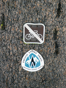 Pacific Crest Trail marker sign.