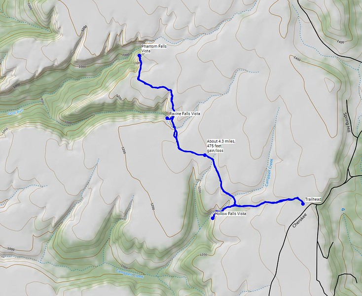 Our route for today. We hiked about 4.3 miles, with about 475 feet gain/loss.