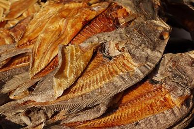 Dried fish in evening sun