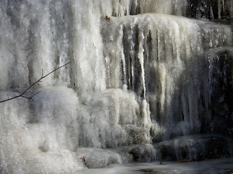 This frozen waterfall is on the pedistrian-only portion of the trail