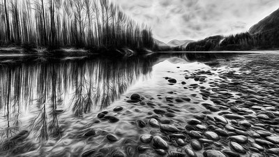 Walking the River Bed BW