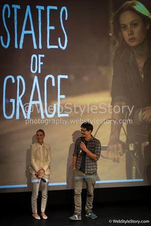 """L'actrice Brie Larson et le réalisateur Destin Cretton répondant aux questions des spectateurs invités par AlloCiné, après la projection  en avant-première du film """"States of Grace"""". http://www.allocine.fr/film/fichefilm_gen_cfilm=221967.html"""