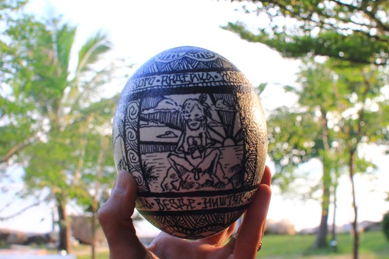 ostrich egg art