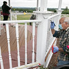 The 25th annual United Way Day of Caring was held on Friday, September 18, 2020. Many came out to volunteer to help work on projects in North Central Massachusetts. Volunteer Ralph Sacramone works on painting the gazebo at Sholan Farms in Leominster. SENTINEL & ENTERPRISE/JOHN LOVE