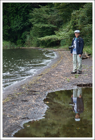 Seishi at Lake Ashi.  There have been many hard rains recently, so the lake was high and there were many puddles here and there.
