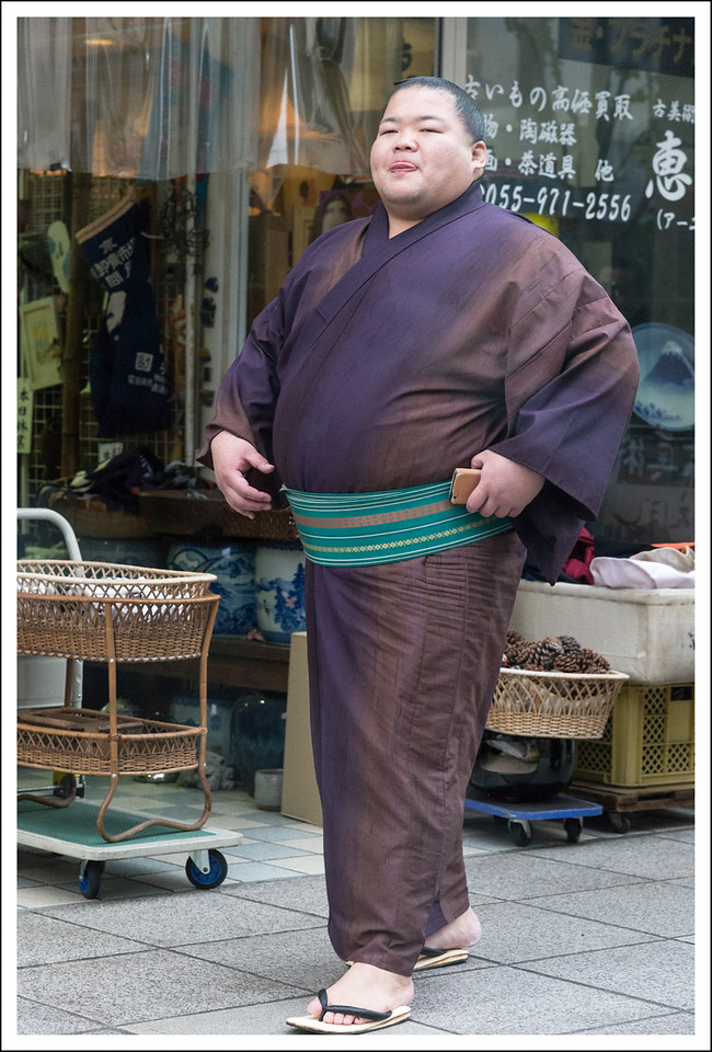 There was a group of sumo wrestlers at the shrine.  Seishi got a picture of them together, but I only saw this one walking through the town as we were leaving.