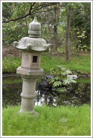 This little stone lantern marks the place where kingfishers come to eat.  We didn't see any, but got to talk to some of the birders with big cameras (D5) and huge lenses.  One of them showed us a picture on his LCD screen that he had taken an hour before.