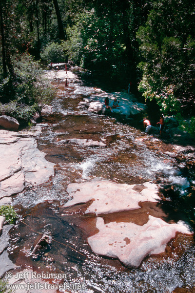 People in Beaver Creek with water flowing over slabs of rock (near the South Grove parking lot) (July 2002, Calaveras Big Trees SP)