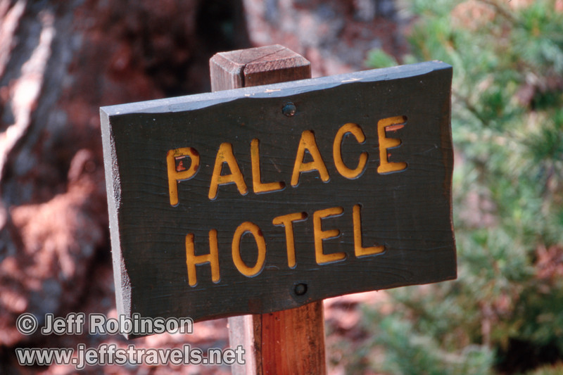 Palace Hotel sign (July 2002, South Grove, Calaveras Big Trees SP)