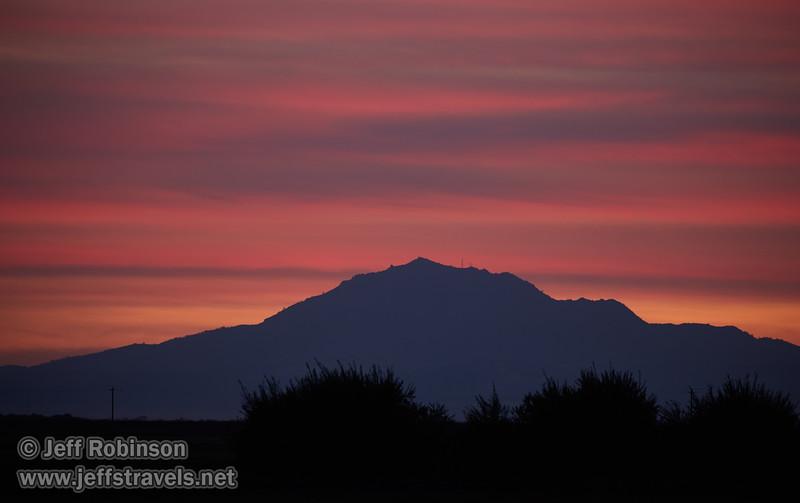 A distant Mt. Diablo under sunset clouds  (10/12/2016, Woodbridge Ecological Reserve, South Unit)<br /> EF100-400mm f/4.5-5.6L IS II USM @ 400mm f5.6 1/10s ISO400