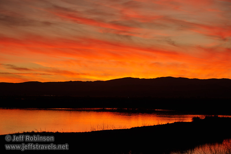 Brilliant pinks and oranges in the sky and reflected in  the water at sunset. (1/19/2013, Sacramento National Wildlife Refuge)
