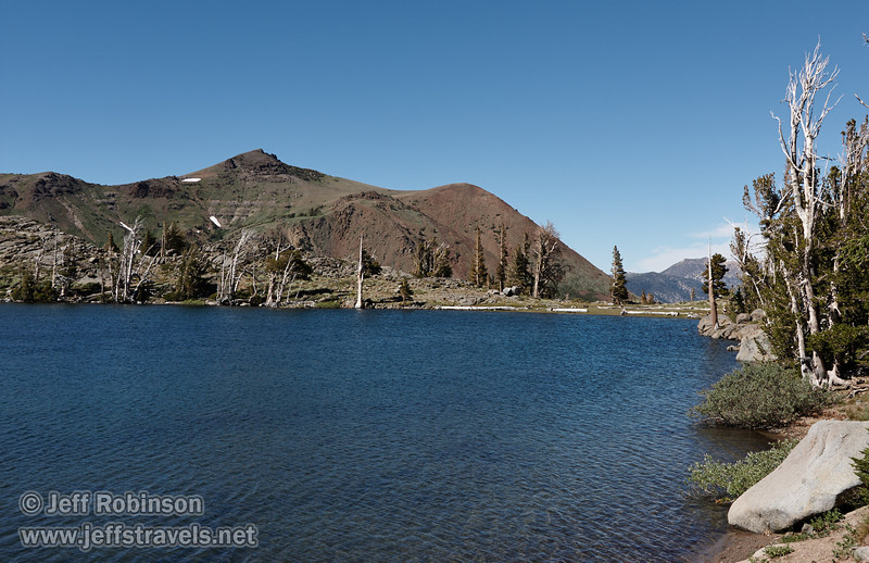 North easterly view of Red Lake Peak over Frog Lake, wtih foreground shore and rocks (8/13/2011, Carson Pass to Frog Lake hike)<br /> EF-S17-85mm f/4-5.6 IS USM @ 26mm f10 1/200s ISO125