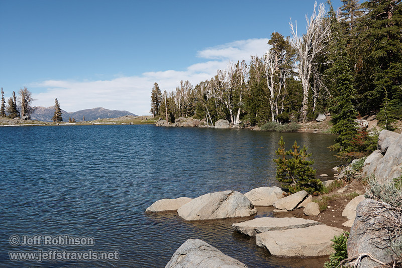 North easterly view of Red Lake Peak over Frog Lake, wtih foreground shore and rocks (8/13/2011, Carson Pass to Frog Lake hike)<br /> EF-S17-85mm f/4-5.6 IS USM @ 26mm f8 1/320s ISO125