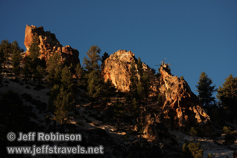 Reddish rock spires and green trees under blue sky in late afternoon sun. (10/22/2011, highway 89 climbing to Monitor Pass (west side of summit), Fall Color Drive)
