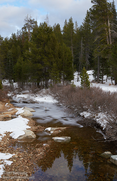 The partially-frozen South Fork of Silver Creek, surrounded by light snow and dark green trees (11/2/2013, Wrights Rd.)<br /> EF24-105mm f/4L IS USM @ 45mm f8 1/197s ISO400