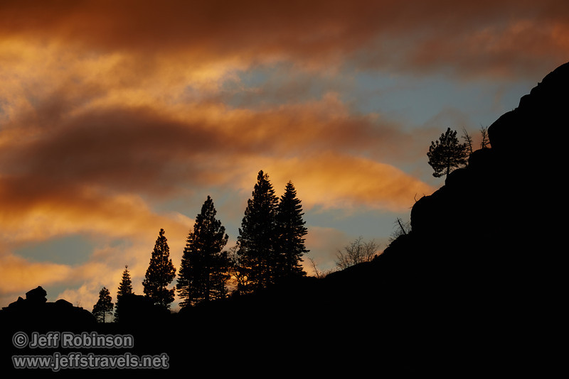 An orange sunset behind silhouetted trees on a mountain ridge (11/2/2013, Wrights Rd.)<br /> EF100-400mm f/4.5-5.6L IS USM @ 400mm f8 1/512s ISO200