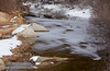 View upstream (east) of the partially-frozen South Fork of Silver Creek, with boulders and some snow to the side (11/2/2013, Wrights Rd.)<br /> EF70-200mm f/2.8L IS II USM @ 120mm f8 1/197s ISO400