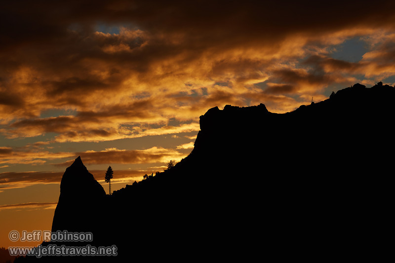 A brilliant-orange sunset behind a silhouetted tree and spire on a mountain (11/2/2013, Wrights Rd.)<br /> EF100-400mm f/4.5-5.6L IS USM @ 135mm f8 1/664s ISO100