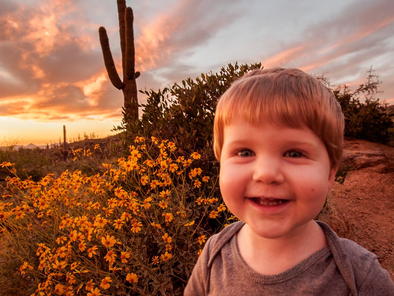 Happy at Sunset