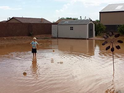 Flooded backyard at John & Kathy's