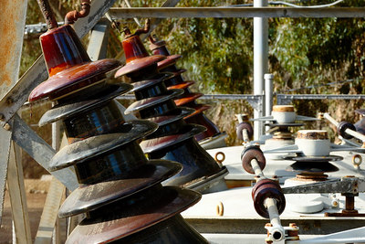 Insulators on the row of transformers