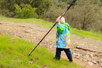 Taking off with my hiking stick