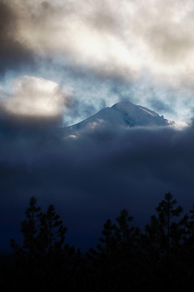 Clouds in the valley below Mt. Shasta