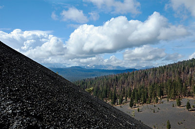 Looking west to a cloud covered Lassen Peak