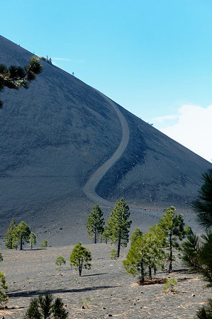 The extremely steep trail winding to the top