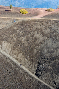 Kids hiking into the crater