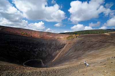 Kids coming out of the crater