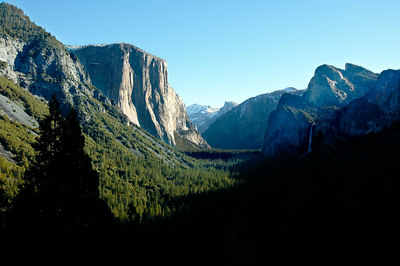 Tunnel View in mid-morning.  The light is better in the afternoon.  El Capitan in the middle, Half Dome in the far rear center, and Cathedral Rocks on the right.  Bridal Veil Fall is in the shadows.