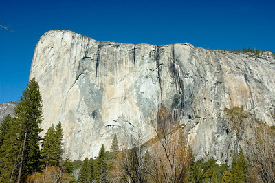 "Southeast face of El Capitan.  The ""map"" of North Americal is to  the left."