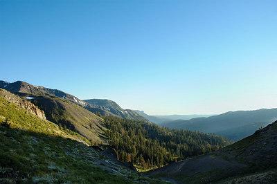 Hiram Creek Drainage, Airola and Iceberg Peaks on the left.