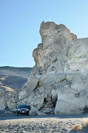 Parked near a massive tufa formation