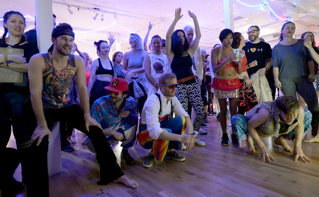 """. The dance crowd listen and move to Alicia Bake play the according. People were able to \""""dance with reckless abandon for two hours before work,\"""" according to organizers.  The Daybreaker Fire + Ice workout  was held at the  Boulder Museum of Contemporary Art on February 15, 2017. For more photos and a video, go to www.dailycamera.com.  Cliff Grassmick  Staff Photographer  February 15, 2017"""