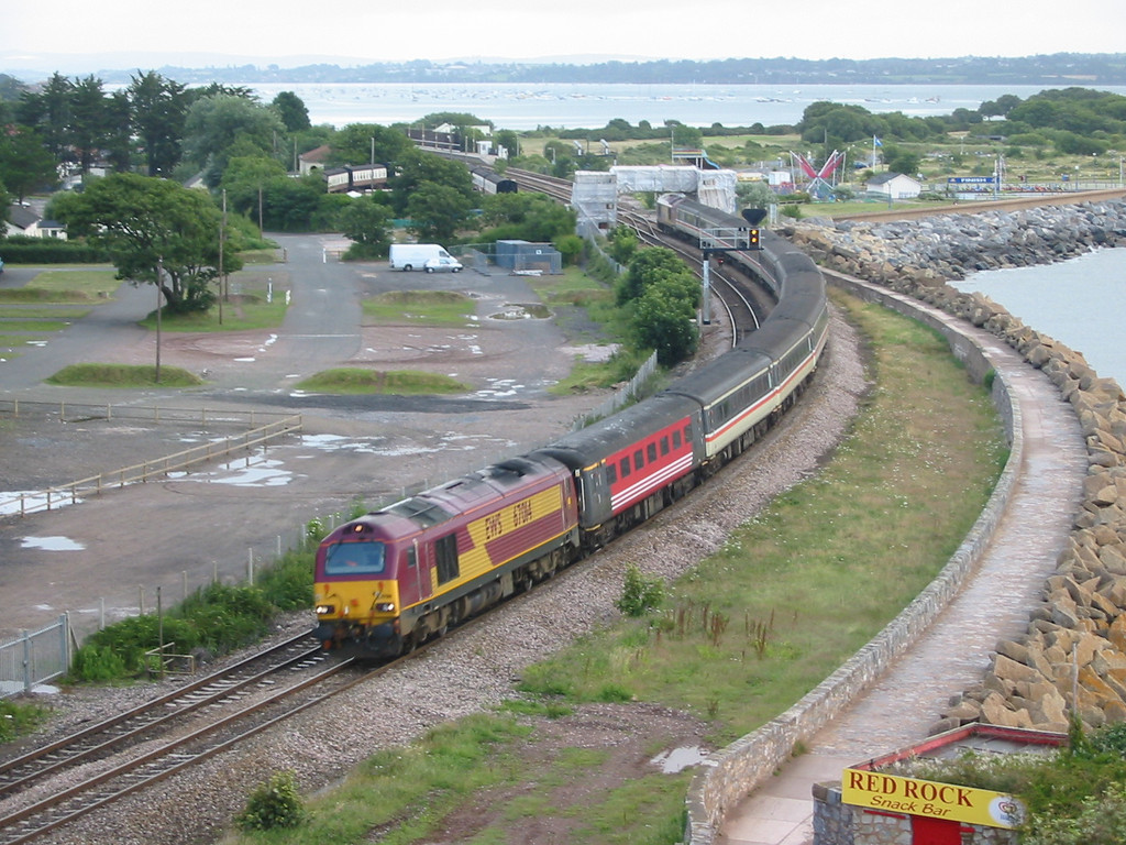 During summer 2004 Virgin Trains hired in loco hauled coaching stock sets using EWS class 67s as power, 67014 is seen at Dawlish
