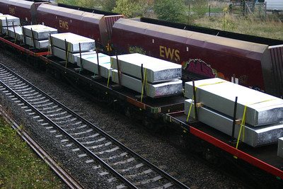 BEA bogie bolster 950017 passing Milford Junction with a load of aluminium ingots - 10th Oct 2011