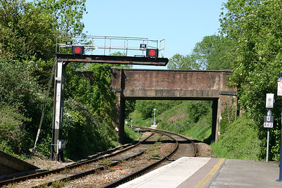 East end of Honiton station - new LED signal heads SE4800 and SE4802 on original bracket