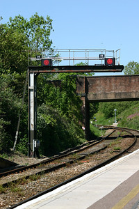 East end of Honiton station - new LED signal heads SE4800 and SE4802 on original bracket