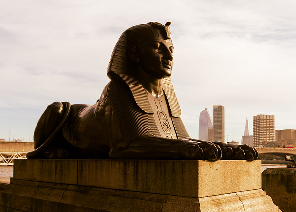 One of the Sphinxes at the base of Cleopatra's Needle
