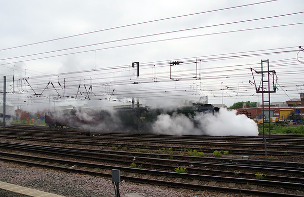 60103 Flying Scotsman & support coach come off Doncaster West yard to attach to the front of special Doncaster 24th July 2021 (2)
