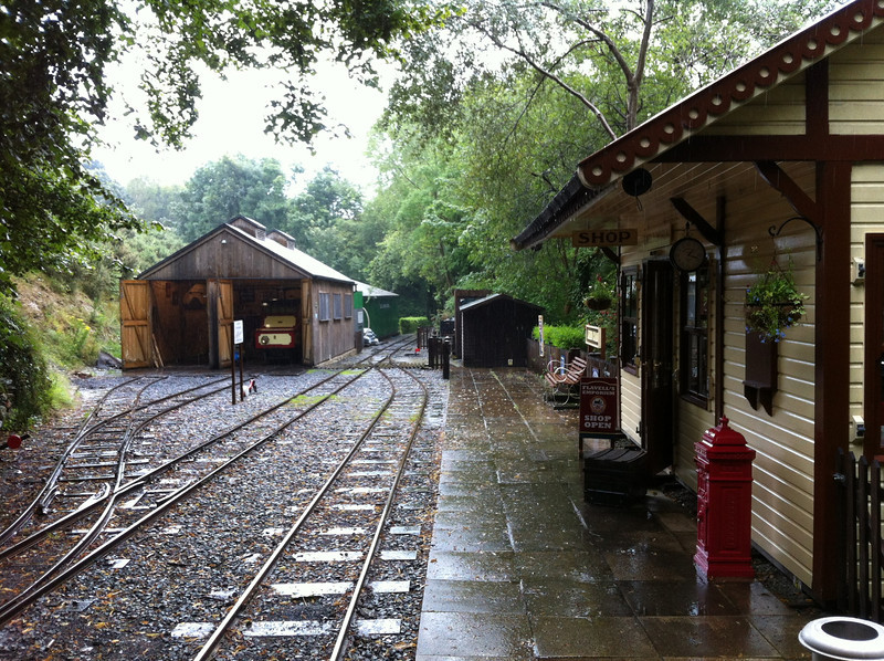 """Lhen Coan station waiting for the train, the battery powered """"Polar Bear"""" in the shed."""