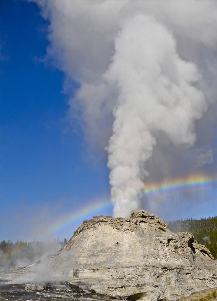 """ Castle Geyser Rainbow ""   ____ 4841Lv<br /> <br /> This unique image is fused directly onto a specially treated, rigid piece of Aluminum.<br /> More archival and lighter than a framed paper print, it arrives ready to hang.<br /> The Float-Mounted MetalPrint™ needs no frame and<br /> will appear to float 3/4"" from your wall.<br /> <br /> Archival paper prints are also available<br /> ------- Contact us for more information -------<br /> moreinfo@RobertHowellPhotography.com"
