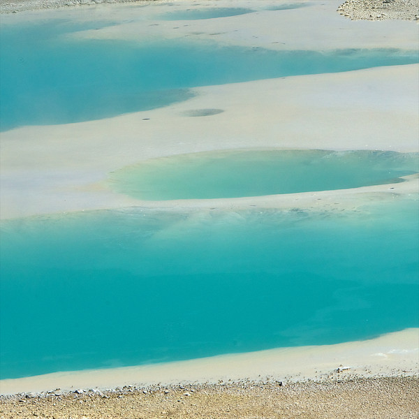 "Blue Thermal Pools___  6874Ls<br /> <br /> A unique, subdued 'pastel light blue'  color of a Yellowstone thermal pool. <br /> Beautiful on a Metal Print.   <br /> <br /> <br /> This unique image is fused directly onto a specially treated, rigid piece of Aluminum.<br /> More archival and lighter than a framed paper print, it arrives ready to hang.<br /> The Float-Mounted MetalPrint™ needs no frame and<br /> will appear to float 3/4"" from your wall.<br /> <br /> Archival paper prints are also available<br /> ------- Contact us for more information -------<br /> moreinfo@RobertHowellPhotography.com"