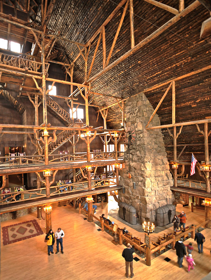 """ Old Faithful Inn Lobby""   ____ H0123Lv<br /> <br /> This unique image is fused directly onto a specially treated, rigid piece of Aluminum.<br /> More archival and lighter than a framed paper print, it arrives ready to hang.<br /> The Float-Mounted MetalPrint™ needs no frame and<br /> will appear to float 3/4"" from your wall.<br /> <br /> Archival paper prints are also available<br /> ------- Contact us for more information -------<br /> moreinfo@RobertHowellPhotography.com"