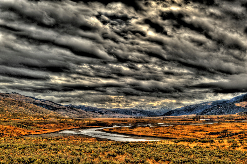 """ Lamar Valley Storm ""   ____ 3536Kh<br /> <br /> <br /> This unique image is fused directly onto a specially treated, rigid piece of Aluminum.<br /> More archival and lighter than a framed paper print, it arrives ready to hang.<br /> The Float-Mounted MetalPrint™ needs no frame and<br /> will appear to float 3/4"" from your wall.<br /> <br /> Archival paper prints are also available<br /> ------- Contact us for more information -------<br /> moreinfo@RobertHowellPhotography.com"