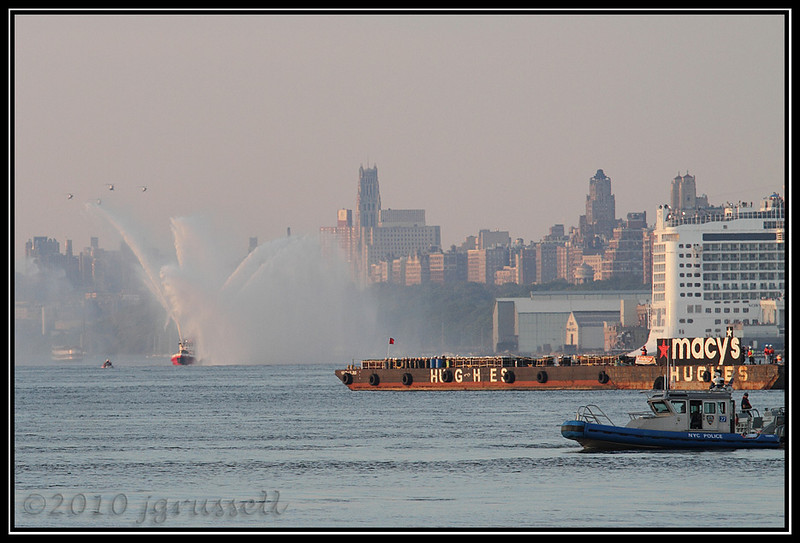 Fire boat and barge